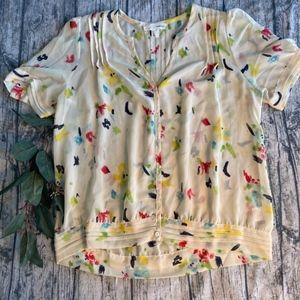 Pins & Needles Tops - UO Pins & Needles Watercolor Button Blouse Sz M
